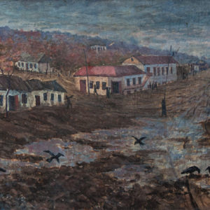 Так выглядела центральная улица в конце 40-х годов. Художник Анатолий Софронович.