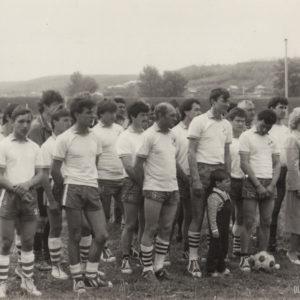 Футбольная команда. Спортивная жизнь чимишлийцев в 80-е годы. Открытие спортивного сезона. Источник: Спортивная школа.