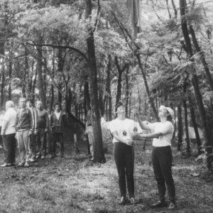 Подъем флага. Спортивная жизнь чимишлийцев в 80-е годы. Источник: Спортивная школа.