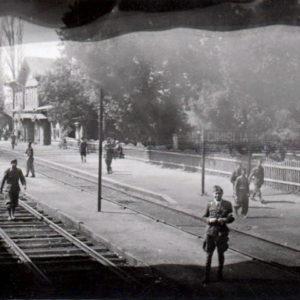 Железнодорожная станция в селе Михайловка в военный период.