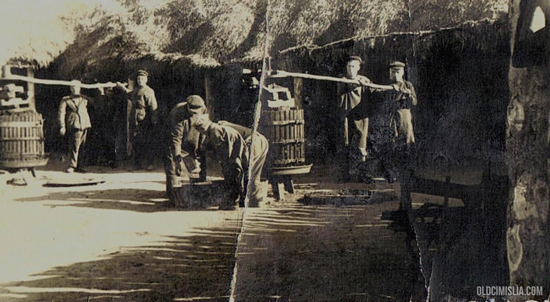 Жители села Липовены выжимают виноград с помощью пресса.